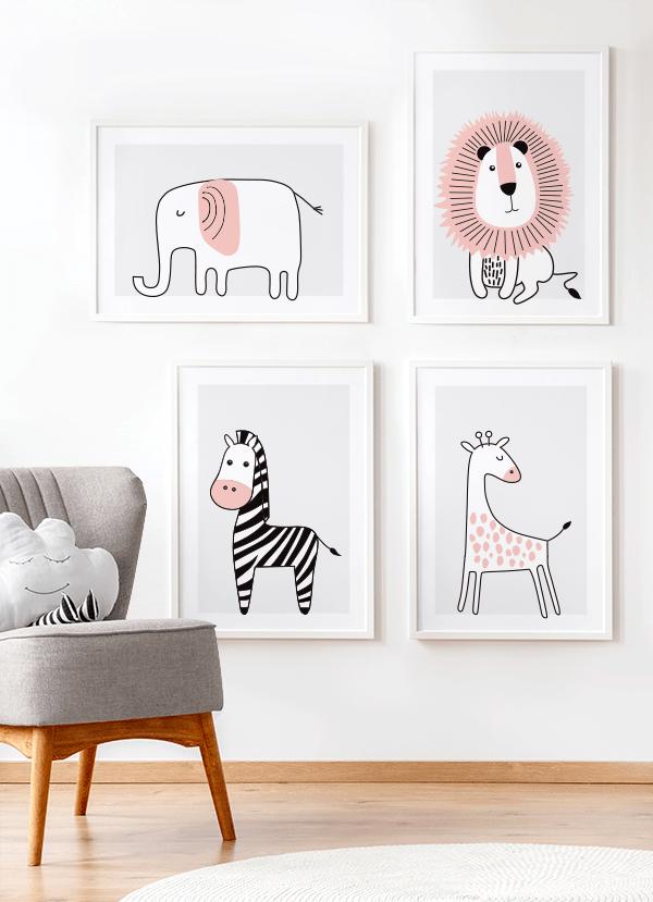 Quadros Decorativos Infantis Elefante, Leão, Girafa e Zebra Rosa Safari - Composição com 4 quadros
