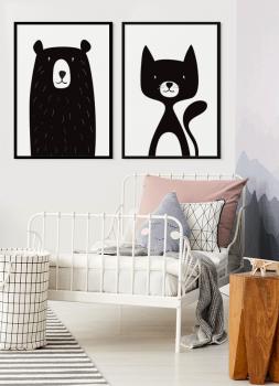 Quadros Decorativos Infantis Urso Preto e Gato Preto - Composição com 2 quadros