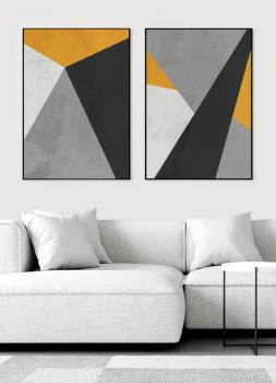 Quadros Abstratos Amarelo Cinza e Preto - Composição com 2 quadros