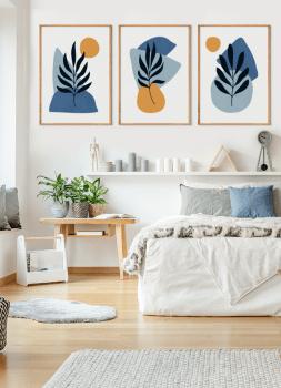 Quadros Decorativos Abstratos Azuis Formas Orgânicas - Composição com 3 quadros