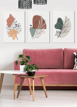 Quadros Abstratos Folhagens - Composição com 3 quadros