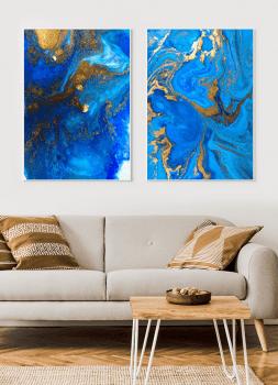 Quadros Decorativos Abstratos Mármore Azul Royal Dourado - Composição com 2 quadros