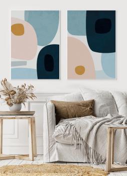 Quadros Abstratos Orgânicos - Composição com 2 quadros