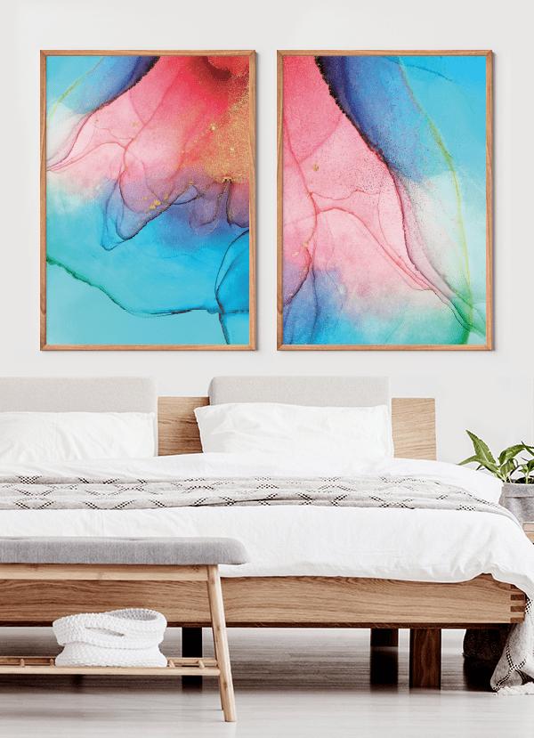 Quadros Decorativos Abstratos Rosa e Azul - Composição com 2 quadros
