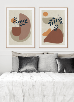 Quadros Decorativos Abstratos Terracota Formas Orgânicas - Composição com 2 quadros