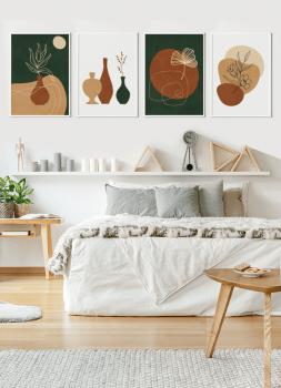 Quadros Decorativos Abstratos Verde e Marrom - Composição com 4 quadros