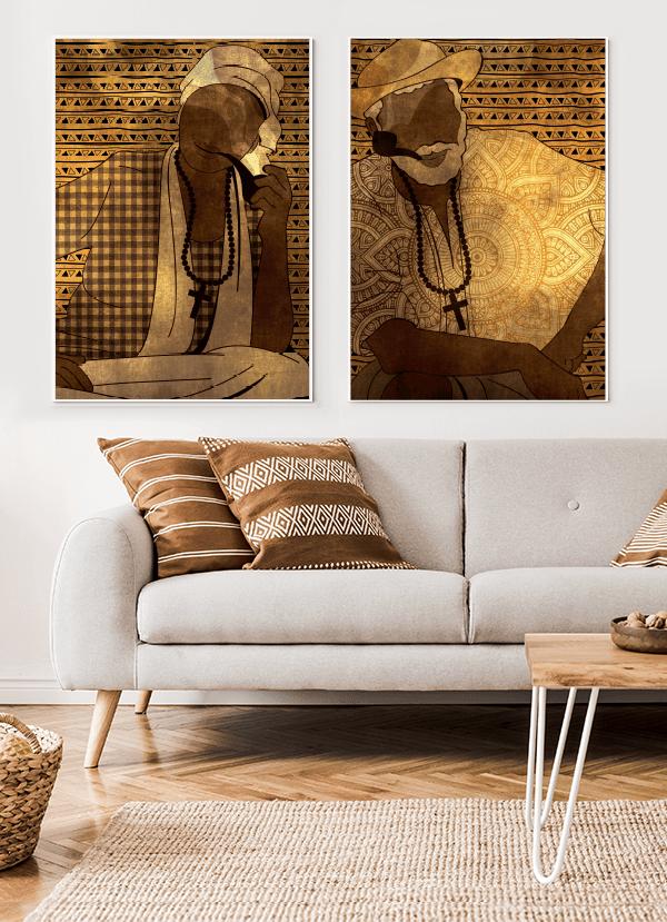 Quadros Decorativos Umbanda Casal Pretos Velhos 2 - Composição com 2 quadros