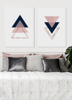 Quadros Decorativos Escandinavos Triângulos Rosa - Composição com 2 quadros