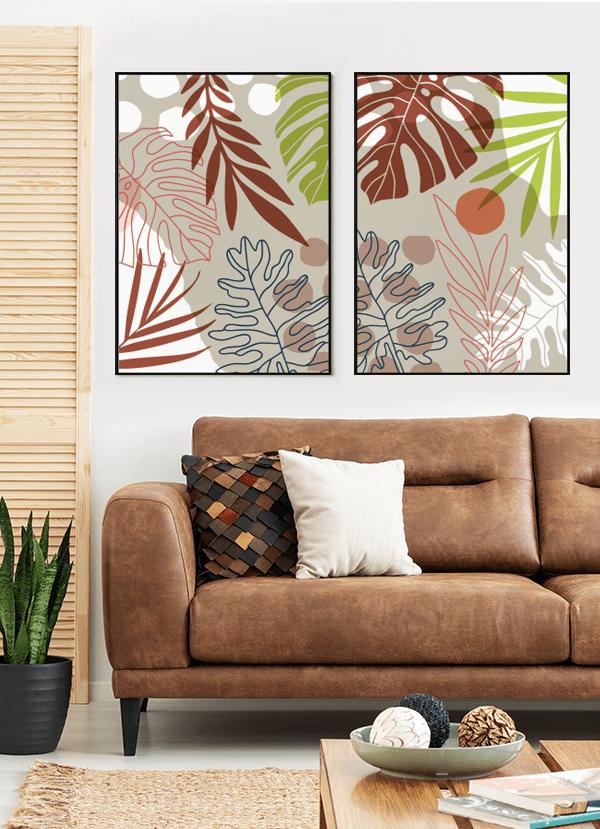 Quadros Decorativos Folhagens Terracota - Composição com 2 quadros