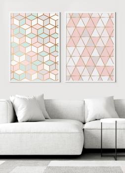 Quadros Decorativos Escandinavos Geométricos Rosa - Composição 2 quadros