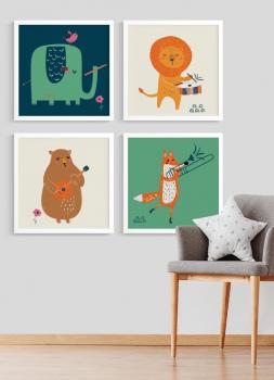 Quadros Decorativos Infantis Animais Musicais - Composição com 4 quadros