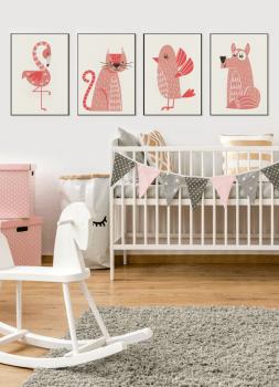 Quadros Decorativos Infantis Animais Série Rosa - Composição com 4 quadros