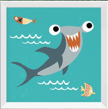 Quadros Infantis Baleia Tubarão Peixe Polvo Submarino - Série Fundo do Mar
