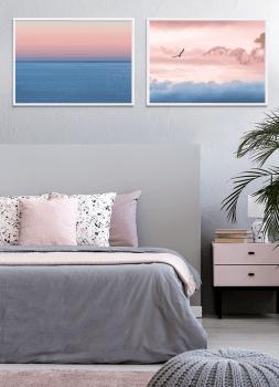 Quadros Decorativos Paisagem Mar Céu Rosa - Composição com 2 quadros