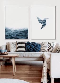 Quadros Decorativos Paisagem Mar e Beija-Flor - Composição com 2 quadros