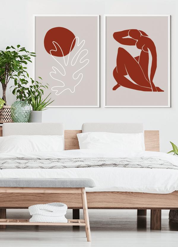 Quadros Decorativos Abstratos Mulher Berggruen e Cie e Folha - Inspiração Matisse - Composição com 2 quadros