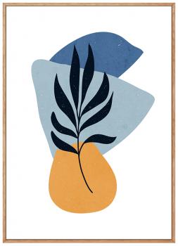 Quadro Abstrato Azul Formas Orgânicas 2