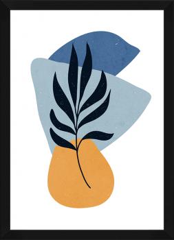 Quadro Decorativo Abstrato Azul Formas Orgânicas 2
