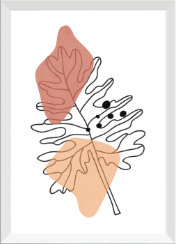 Quadro Decorativo Abstrato Plantas Folhagem
