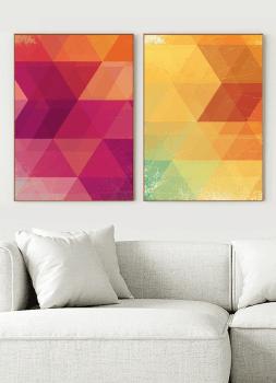 Quadro Abstrato Geométrico Rosa