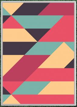 Quadro Decorativo Abstrato Geométrico Rosa verde e Amarelo