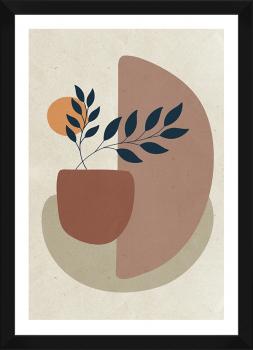 Quadro Decorativo Abstrato Terracota Formas Orgânicas 3