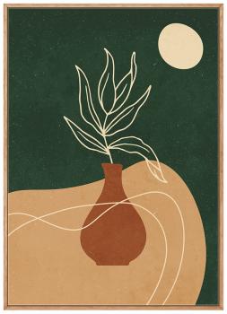 Quadro Abstrato Verde Vasos e Plantas