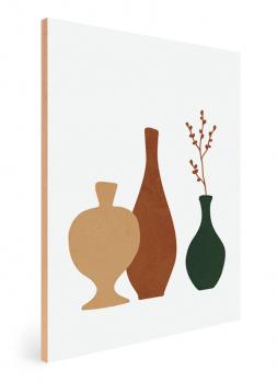 Quadro Decorativo Abstrato Verde Vasos e Plantas 2