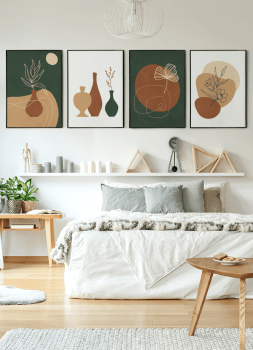 Quadro Abstrato Verde Vasos e Plantas 2