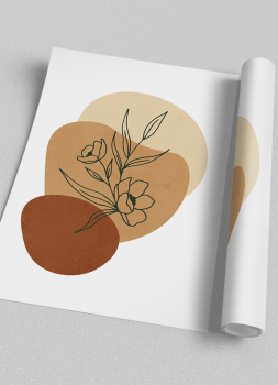 Quadro Abstrato Verde Vasos e Plantas 4