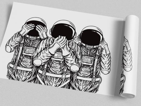 Quadro Astronautas Sábios - Não vejo, não ouço não falo
