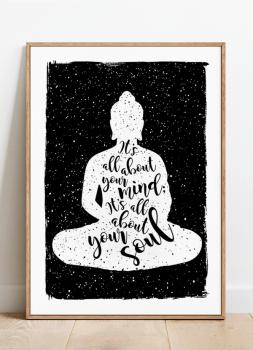 Quadro Decorativo Buda Frase