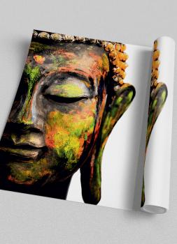 Quadro Espiritualidade Buda Colorido Fundo Branco