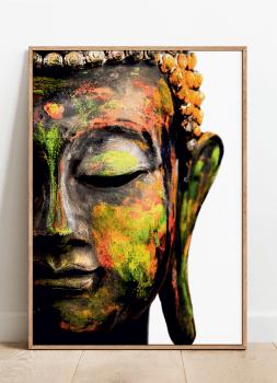 Quadro Decorativo Espiritualidade Buda Colorido Fundo Branco