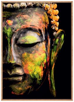 Quadro Decorativo Espiritualidade Buda Colorido Fundo Preto