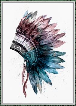 Quadro Decorativo Cocar Étnico Colorido
