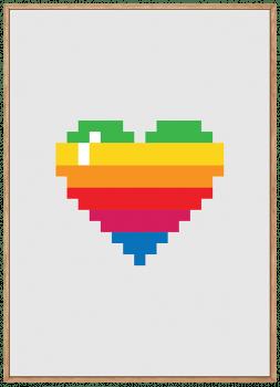 Quadro Decorativo Coração Pixel Colorido