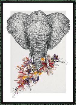 Quadro Decorativo Étnico Elefante Florido