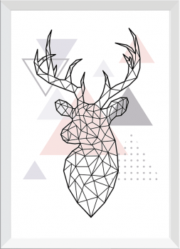 Quadro Decorativo Escandinavo Alce Geométrico Rosa