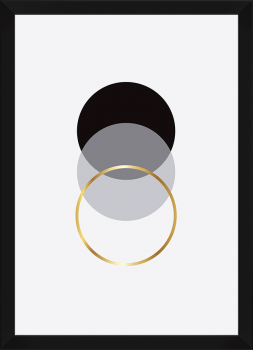 Quadro Decorativo Escandinavo Dourado Círculo