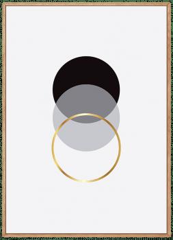 Quadro Escandinavo Dourado Círculo