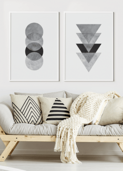 Quadro Decorativo Escandinavo Cinza Círculo com Textura