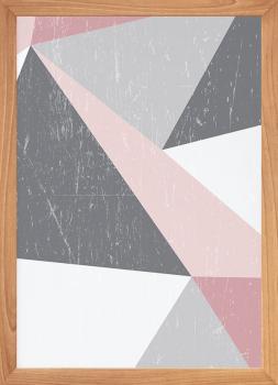 Quadro Decorativo Escandinavo Geométrico Rosa