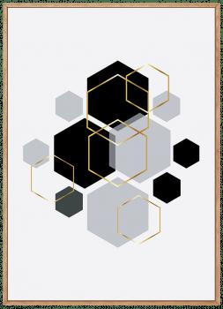 Quadro Decorativo Escandinavo Dourado Hexágono