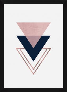 Quadro Decorativo Escandinavo Triângulo Rosa