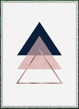 Quadro Decorativo Escandinavo Triângulo Rosa 2