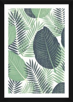 Quadro Decorativo Folhagens Estampa Tropical Verde