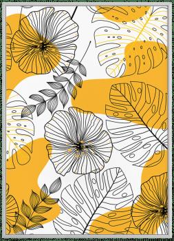 Quadro Decorativo Folhagem Amarelo e Preto