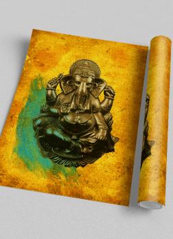 Quadro Ganesha Fundo Amarelo Deus Indiano