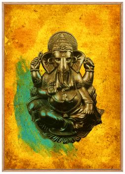 Quadro Decorativo Ganesha Deus indiano Fundo Amarelo